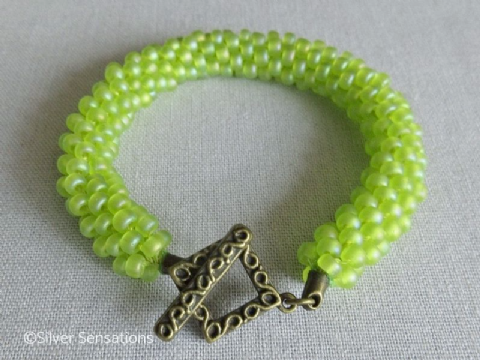 Frosted Rainbow Bright Green Kumihimo Seed Bead Bracelet